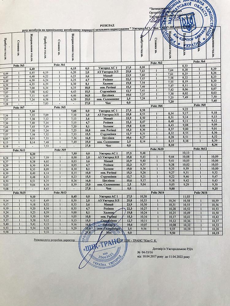 """Оприлюднено графік руху автобусів сполученням """"Ужгород-Чоп"""" (ДЕТАЛІ), фото-1"""