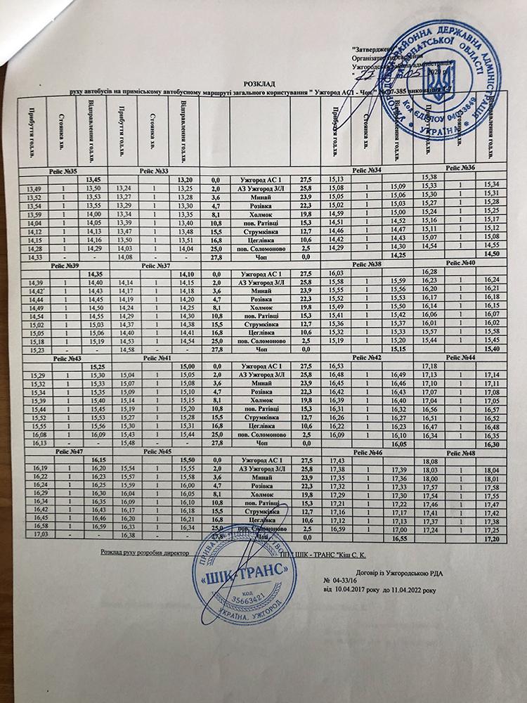 """Оприлюднено графік руху автобусів сполученням """"Ужгород-Чоп"""" (ДЕТАЛІ), фото-3"""